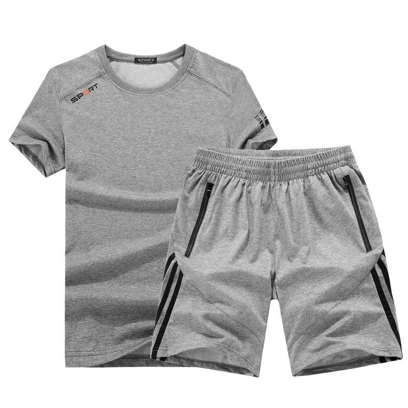 Di estate degli uomini di tasca della chiusura lampo del cotone allentato sensazione di ghiaccio in esecuzione di fitness di grandi dimensioni 9XL formazione vestito di sport