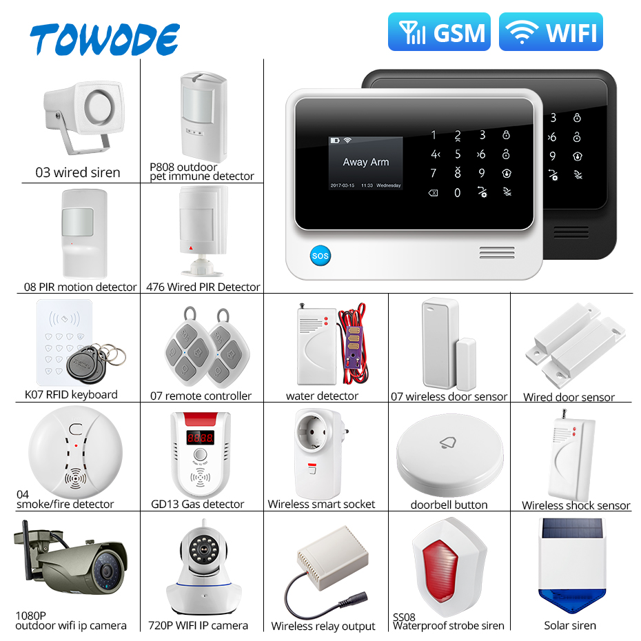 Towode G90B Plus SIM GSM Home Burglar Security APP Remote Control WIFI Wireless GSM Alarm System