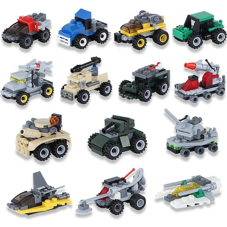14 Kinds Mini Transportation Block Car Building Compatible Legoe INGlys Toys Gifts