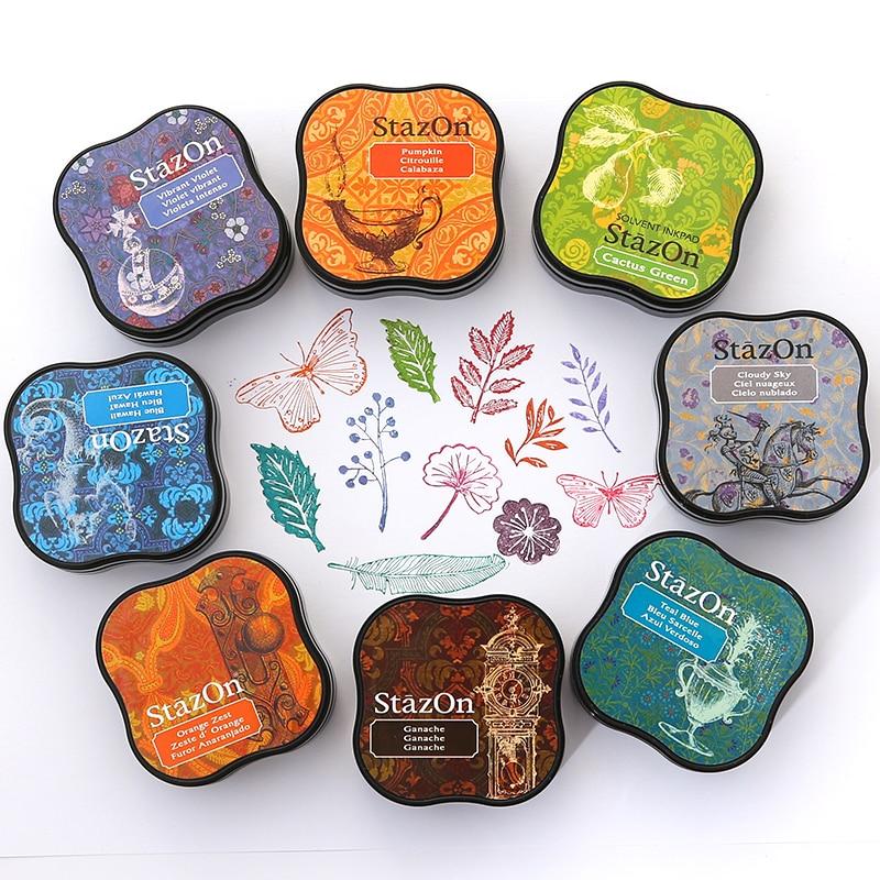 Full Set 17pcs TSUKINEKO Inkpads Stazon Mini Fast Dry Oil Based Ink Pad  Metal Leather Glass Multi-purpose Pad
