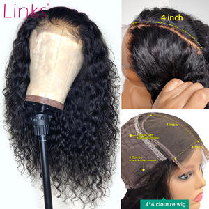 Links Wigs Lace-Frontal Human-Hair Short Bob Curly 5x5 Closure Remy Pre-Plucked Black-Women