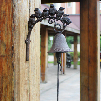 Cast Iron Welcome Dinner Bell 6 Birds on Branch Wall Mounted Brown Hanging Garden Porch Patio Gate Decorative Bell on Door Retro