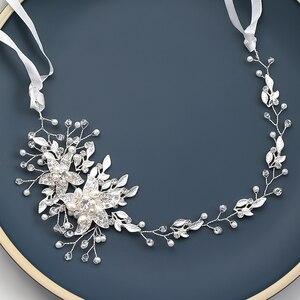 Image 2 - אופנה החדש אופנה חתונה כלה שיער אביזרי פרל ריינסטון מצנפות בגימור זהב כסף צבע שיער תכשיטי עבור נשים