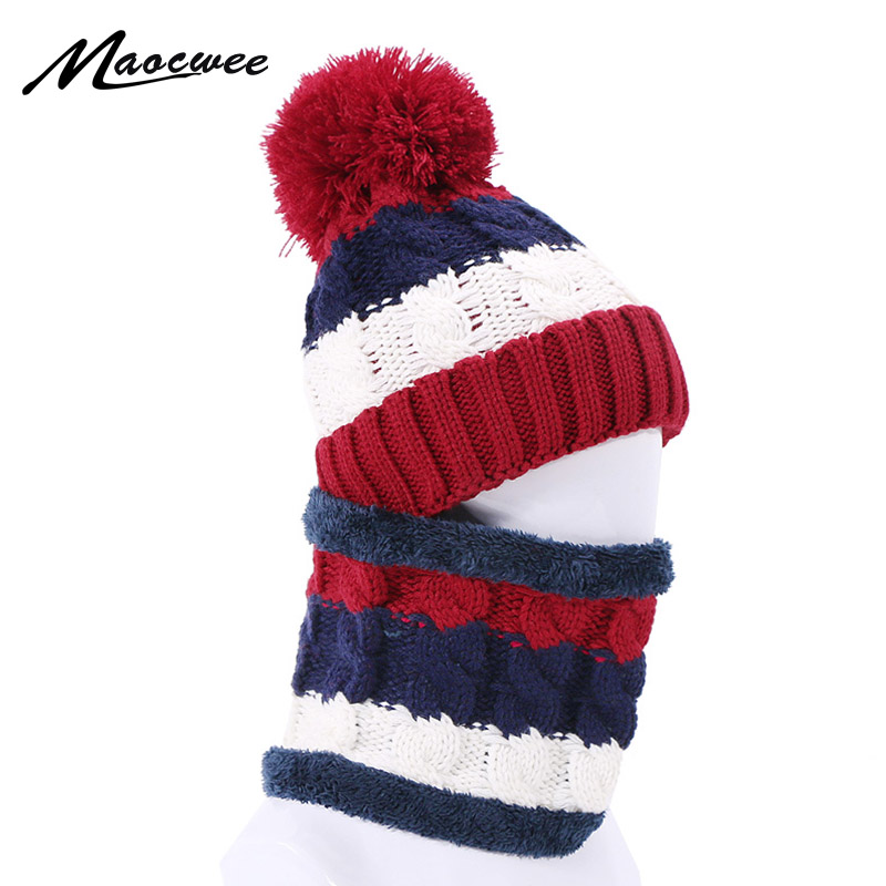 Woman Skullies Beanies Knitted Hat Ring Scarf Set Winter Outdoor Warm Hats With Lining Thick Ear Protect Caps Solid Beanie Hats