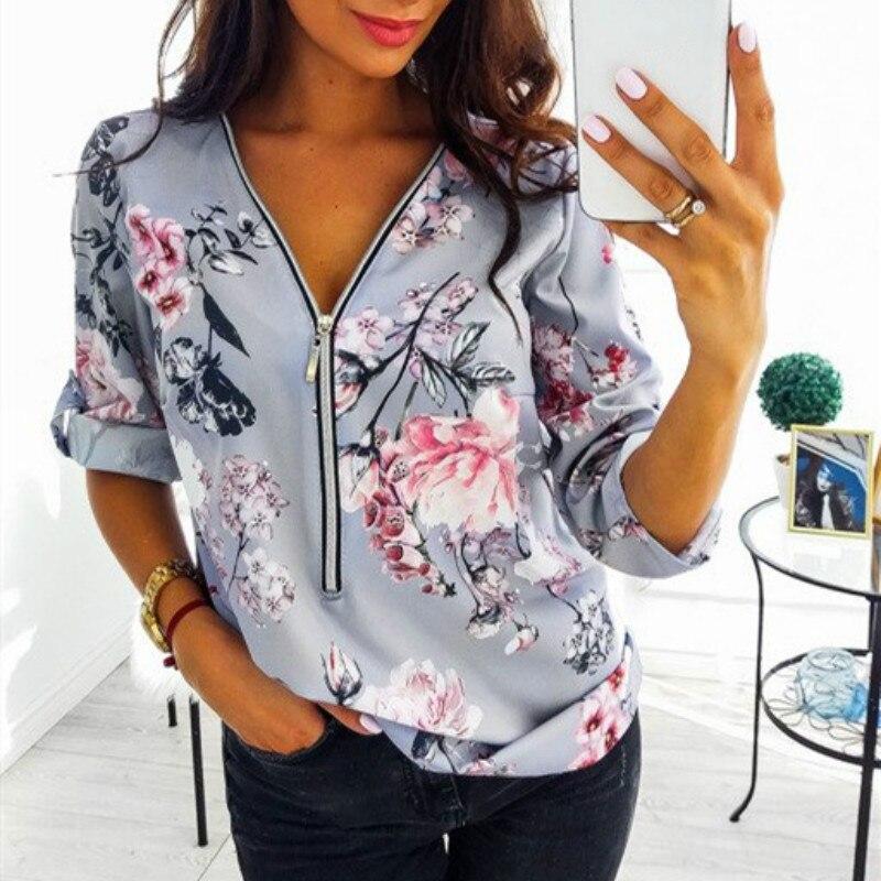 S-5XL Plus Size Tops Work Women Blouses Cotton New Fashion Fit Zipper V-Neck Shirt Vintage Floral Print Shirts Dot Mujer Blusas