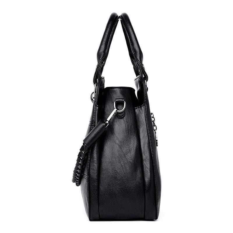Image 3 - Black Paid Women Casual Totes Bag Female Handbags Large Big Size  Woman Shoulder Bag for Ladies Vintage Genuine Leather Hand  BagsTop-Handle Bags