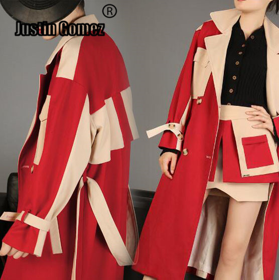 Popular Red contrats Color patchwork loose plus size long   trench   coats Oversized Women elegant windbreaker