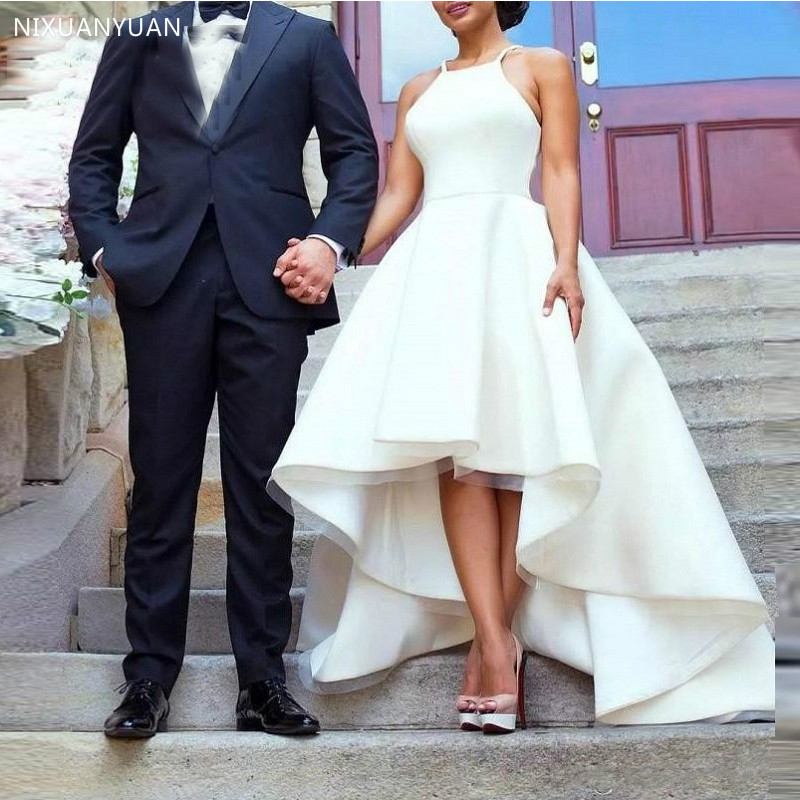 Simple High Low Wedding Dresses Spaghetti Straps 2020 White Ivory Beach Wedding Gowns Short Front Long Back Vestidos De Novia