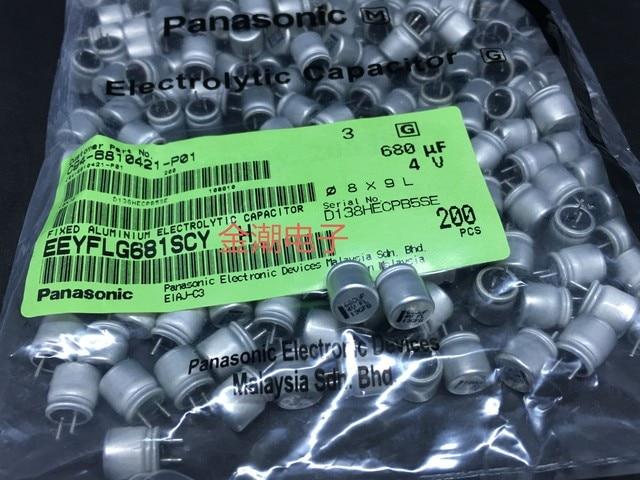 100pcs Matsushita 4V680UF FL SERIES 8x9 มม.680 UF/4 V LOW ESR เดิมเมนบอร์ด Capacitor FL 680UF 4V