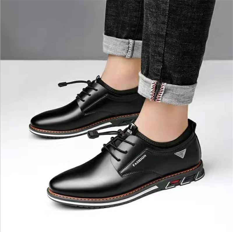 Newest Luxury Pointed Toe Casual Leather Shoes Men's Fashion Lace Up Business Dress Oxfords Solid Wedding Office Males Flats Man (4)