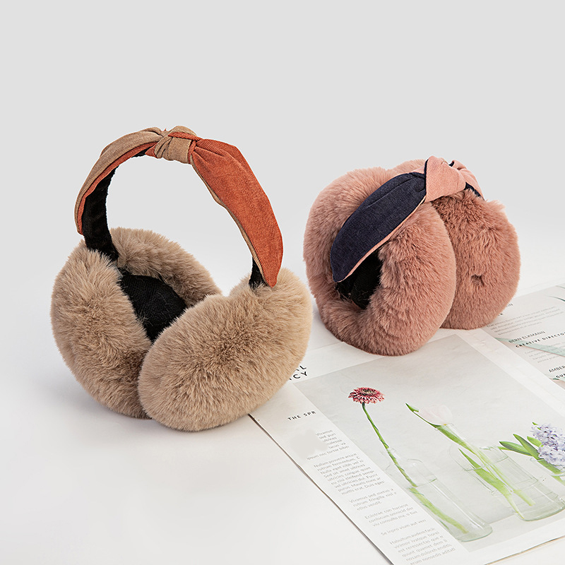 Two-Color Headband Foldable Faux Rabbit Fur Earmuffs Plush Ear Cover Adjustable Earmuffs Soft Sweet Solid Color Ear Protection