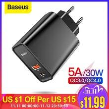 Зарядное устройство Baseus Quick Charge 4,0 3,0 USB для Redmi Note 7 Pro 30W PD Supercharge быстрое зарядное устройство для телефона для huawei P30 iPhone 11 Pro