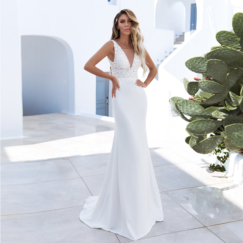 Verngo Mermaid Wedding Dress Boho Simple Satin Wedding Gowns Backless Bride Dresses Vestido De Noiva 2020