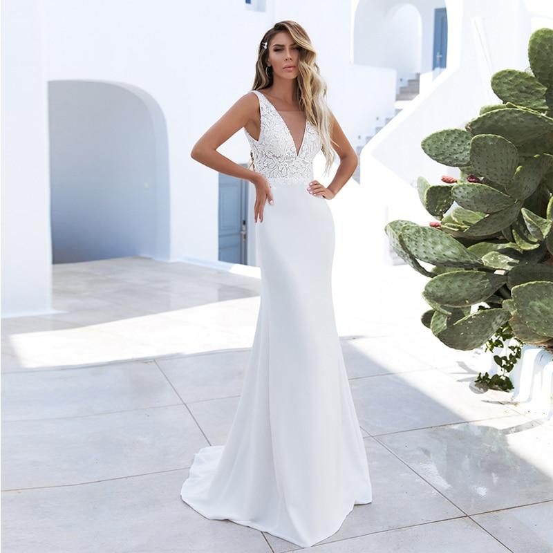 Verngo Mermaid Wedding Dress Boho Simple Satin Wedding Gowns Backless Bride Dresses Vestido De Noiva 2020
