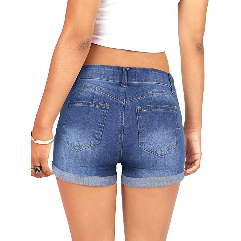 Dżinsy damskie 2020 moda lato kobiety niskiej zwężone znoszone, podarte dziura krótkie mini dżinsy spodnie dżinsowe szorty # YL10