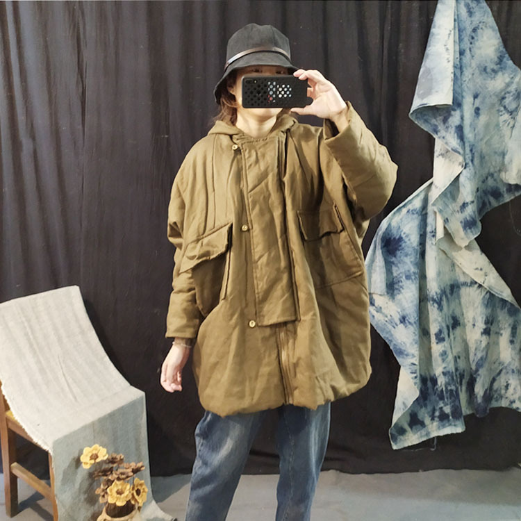 Art Transposition * Jnby Style Origional Winter Style Cotton Linen Quilting Line Casual Thick Quilted Cotton Coat Cotton-padded