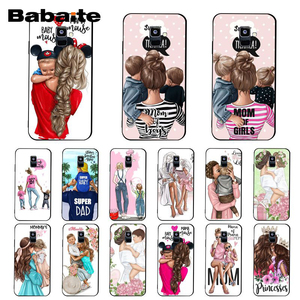 Babaite Fashion Black Brown Hair Baby Mom daughter Girl Son Dad PhoneCase For Samsung A7 2018 A50 A70 A8 A3 A6 A6 A8 Plus A9