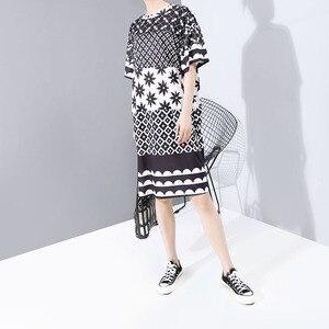 Image 2 - Neue Frauen Plus Größe 2020 Multicolor Gedruckt Midi Kleid Geometrische Muster Damen Stilvolle Lose Gerade Kleid Vestidos 5983