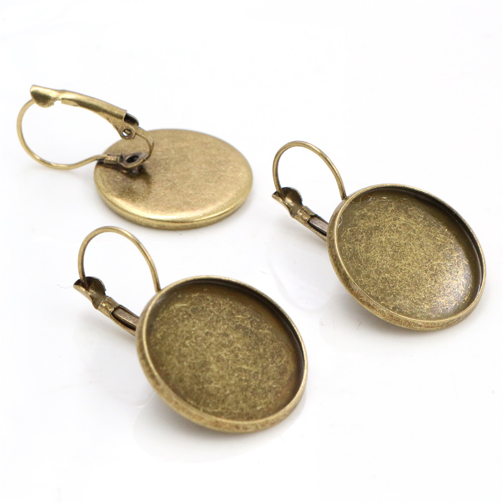 20mm 10pcs Bronze Plated French Lever Back Earrings Blank/Base,fit 20mm Glass Cabochons,buttons;earring Bezels  (L5-12)