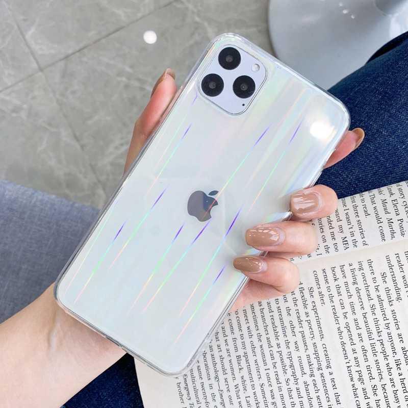 GradientสีHolographic Mirror ClearซิลิโคนTPUโทรศัพท์กรณีสำหรับiPhone 6 6S 7 8 PLUS X XS XR 10 11 Pro SE MAX COVER