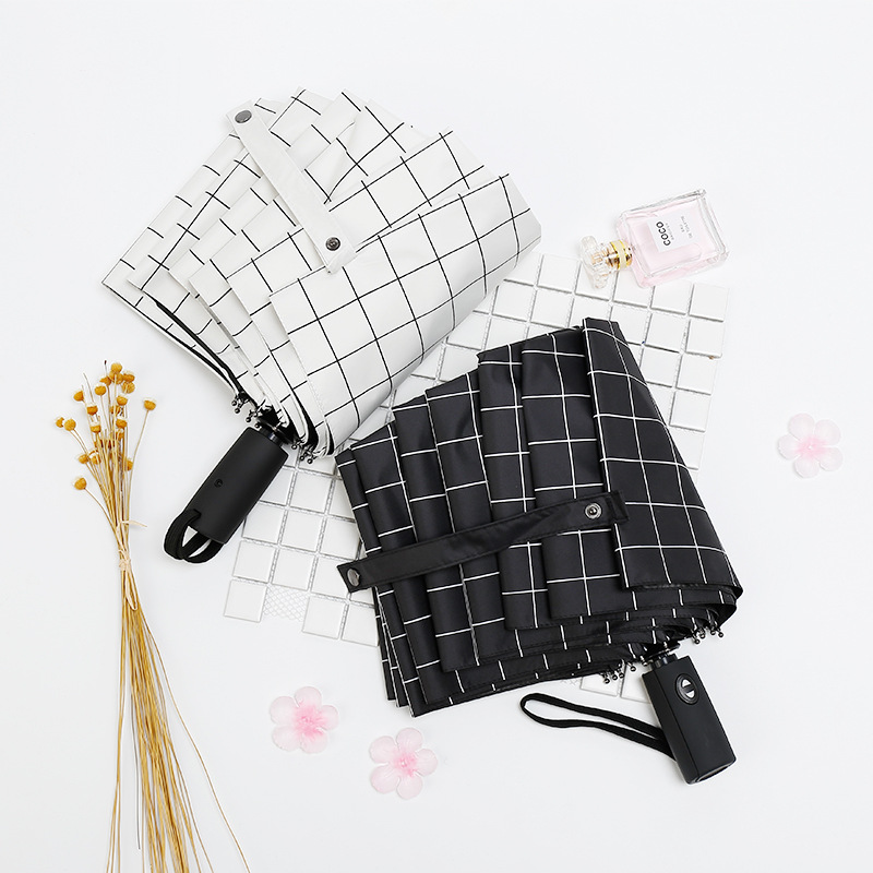 10 Bone Self-opening Umbrella Three Folding Fully Automatic Pattern Vinyl Umbrella Fully Automatic From The Open Close All-Weath