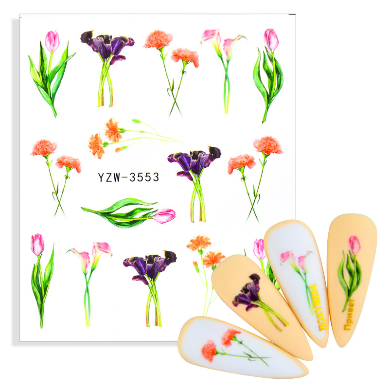 Nail Stickers Slider Flower Lotus Carnation Lavender Butterfly DIY Floral Designs Water Tattoo for Wraps Decals Manicure Decor