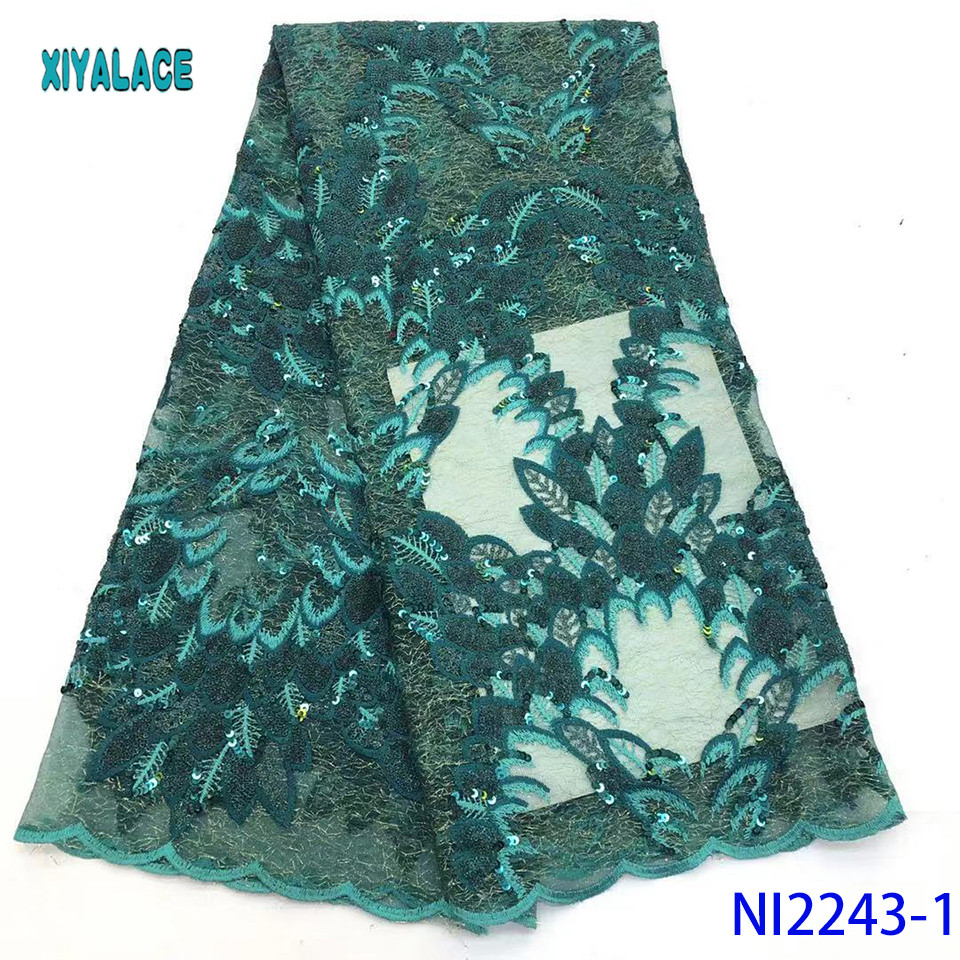 2019 High Quality African Lace Fabric Nigerian French Lace Luxury Sequins Lace Fabric Fabric For Wedding YANI2243-1