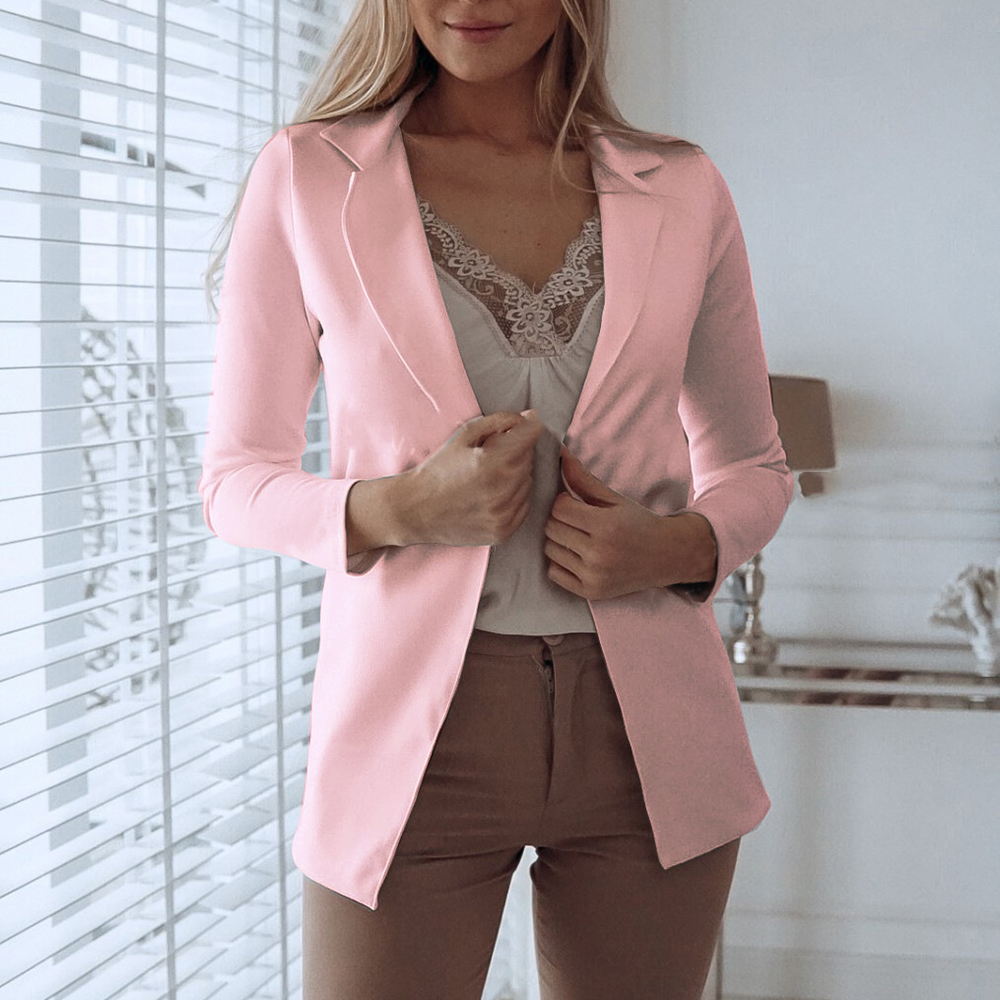 Clothing Blazer Suit Patchwork Fashion Women's Lady Mujer WENYUJH Solid Slim-Fit