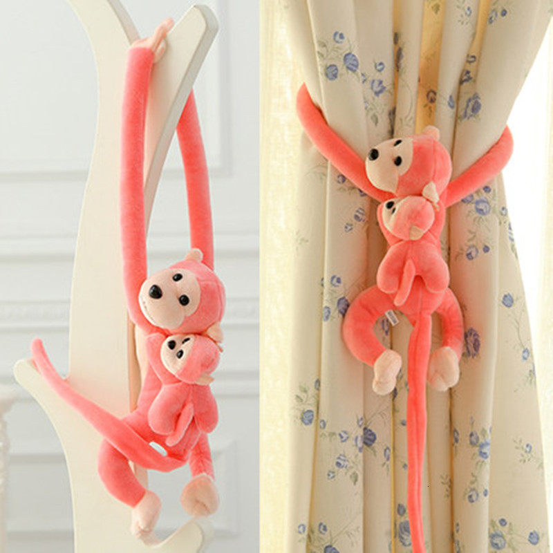 Lovely 70cm Son On Mother's Back Long Arm Tail Animal Monkey Stuffed Doll Plush Toys Baby Sleeping Appease Curtain Buckle