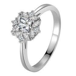 White Square Diamond Jewelry 14K Gold Ring for Women Bijoux Femme Anillos De Bizuteria Gemstone Wedding 14 K Gold Jewelry Rings