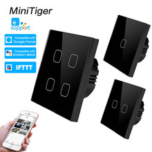 Minitiger Smart Home 4 Gang 1 way Wireless WiFi EU Standard Touch Switch Wall Light Touch Switch,ewelink App Control(China)