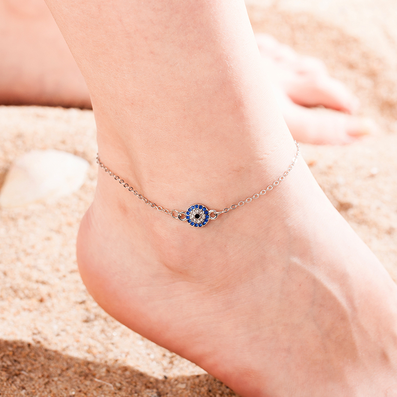 New Neo Gothic Anklet Bracelet Fashion Simple Popular New Society Rhinestone Devil Eye Leg Chain Women Girls Summer Accessories