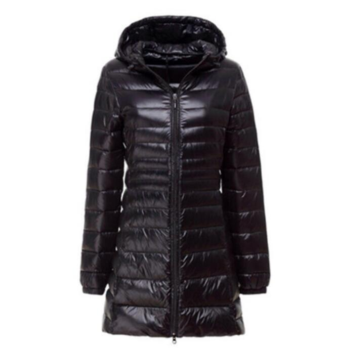 Hot 2020 Winter Women White Duck Down Jacket Slim Parkas Ladies Coat Long Hooded Ultra Light Down Outerwear