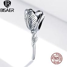 BISAER Tulip Flower Charm 100% 925 Sterling Silver Beads Pendant DIY Bracelets Necklace Wedding Fashion Jewelry ECC1514