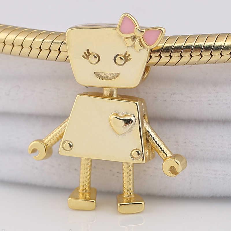 Original 925 Sterling Silber Charme Gold Farbe Glanz Nette Bella Bot Roboter Perlen Fit Pandora Armband Armreif Halskette Diy Schmuck