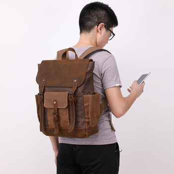 Nesitu Highend Vintage Army Green Coffee Grey Cyan Crazy Horse Leather Canvas 15.6'' Laptop Women Men Backpack Travel Bag M0011