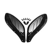 New Motorbike Adjustable Side Wing Windshield Air Deflector Fairing for Harley Glide 96 13 Electra Street Black / Grey