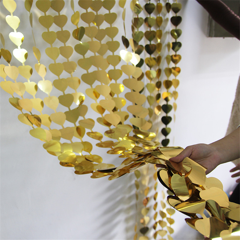 Gold Heart Glitter Foil Fringe Tinsel Curtain Door Wedding Birthday Bachelorette Party Decorations Photo Backdrop Wall Supplies