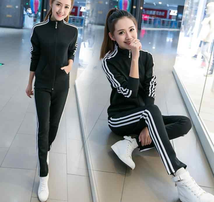 Primavera e Autunno New Coreano del vestito di sport di modo delle donne di grandi dimensioni sottili tre bar per il tempo libero a due pezzi set