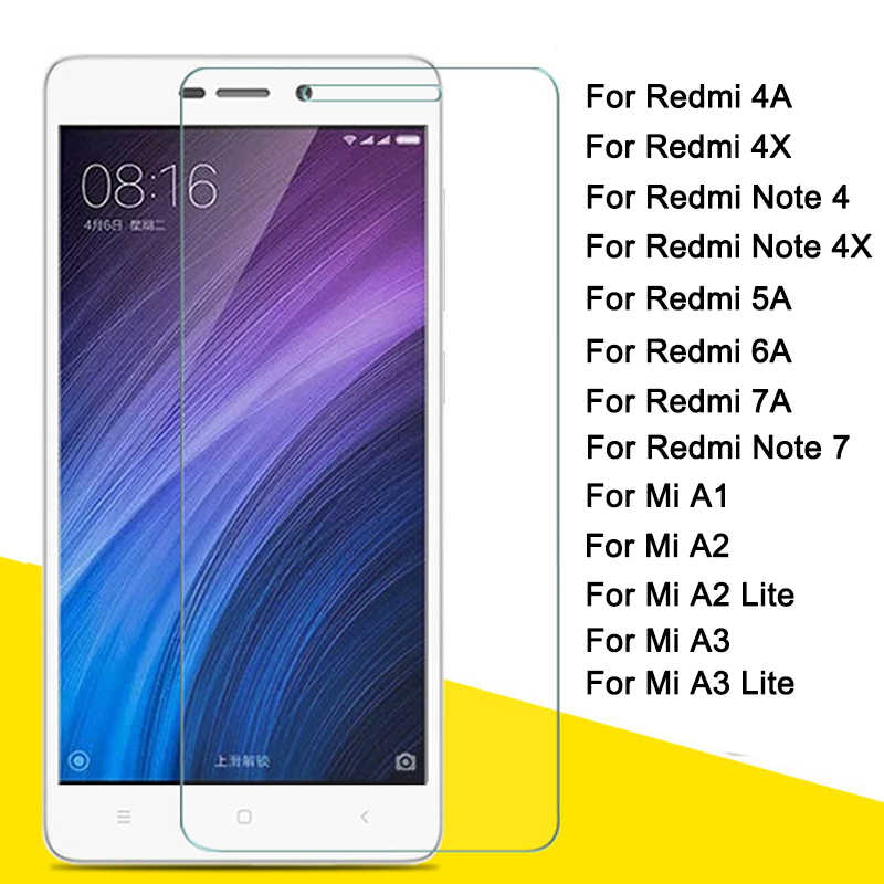 For xiaomi redmi 7a 6a 4a glass for mi a1 a2 a3 lite light screen protector redm 4x note 7 4x 5a protective termpered glass xiom
