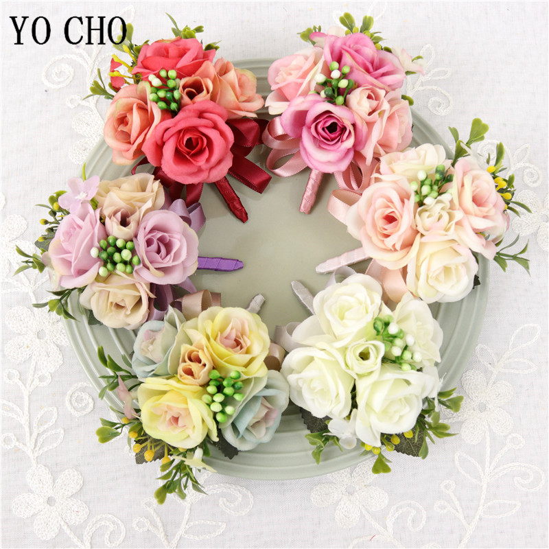 YO CHO Men Suit Boutonniere Wedding Silk Rose Girl Wrist Corsages Sister Bracelet Flower Groomsmen Corsages And Boutonnieres