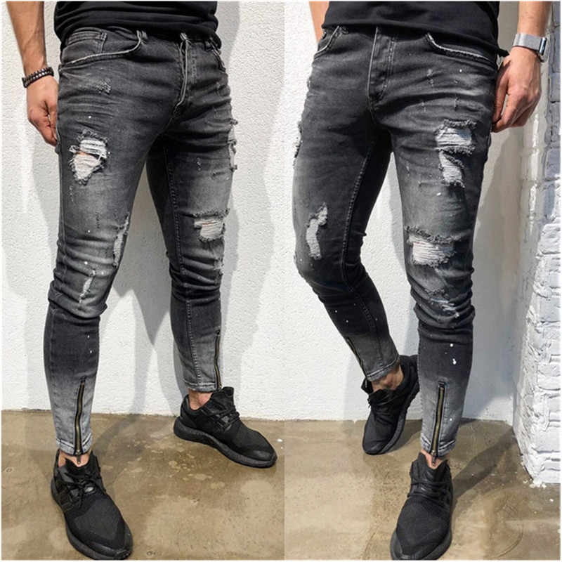 Fashion Streetwear Men Jeans Vintage Blue  Color Thin Destroyed Ripped Jeans Broken Punk Pants Homme Hip Hop Jeans Men