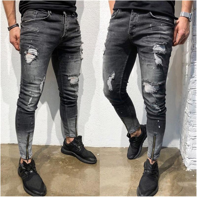 Fashion Streetwear Men Jeans Vintage Blue  Color Thin Destroyed Ripped Jeans Broken Punk Pants Homme Hip Hop Jeans Men