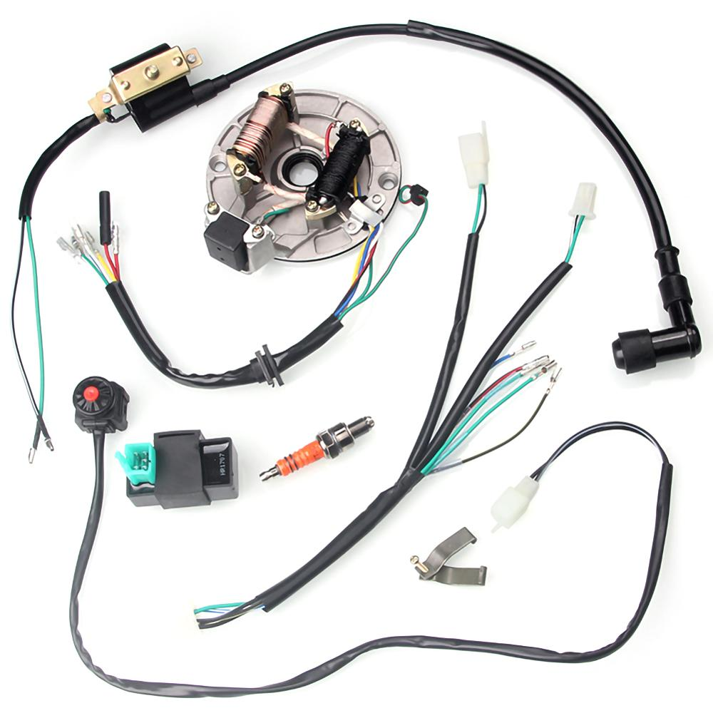 For 50-125cc Kick Start Dirt Pit Bike Full Electrics Wire Harness Wiring Loom CDI Coil 4 Stroke With Rectifier Ignition Switch