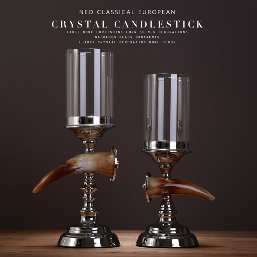 Crystal Candlestick Wedding Candelabra Glass Candle Holder Small Tealight Candle Stand Nordic Decoration Home 50XX099
