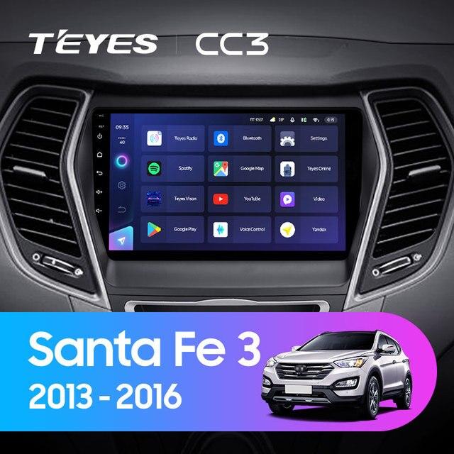 TEYES CC3 Штатная магнитола For Хендай Санта Фе 3 For Hyundai Santa Fe 3 2013 - 2016 до 8-ЯДЕР, до 6 + 128ГБ 27EQ + DSP carplay автомагнитола 2 DIN DVD GPS android 10 мультимедиа автомобиля головное устройство 2