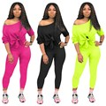 Casual Neon Two Piece Set Short Women Tracksuit Tie Off Shoulder Long Sleeve Crop Top Pencil Pants Fall Suits