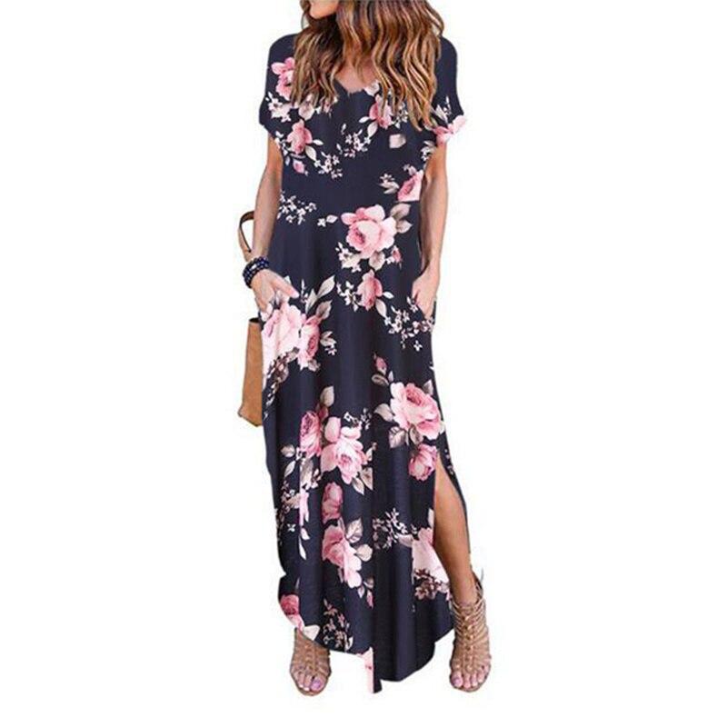 Сексуальное женское платье, летнее Повседневное платье с коротким рукавом и цветочным принтом, длинное женское платье с v образным вырезом Платья      АлиЭкспресс
