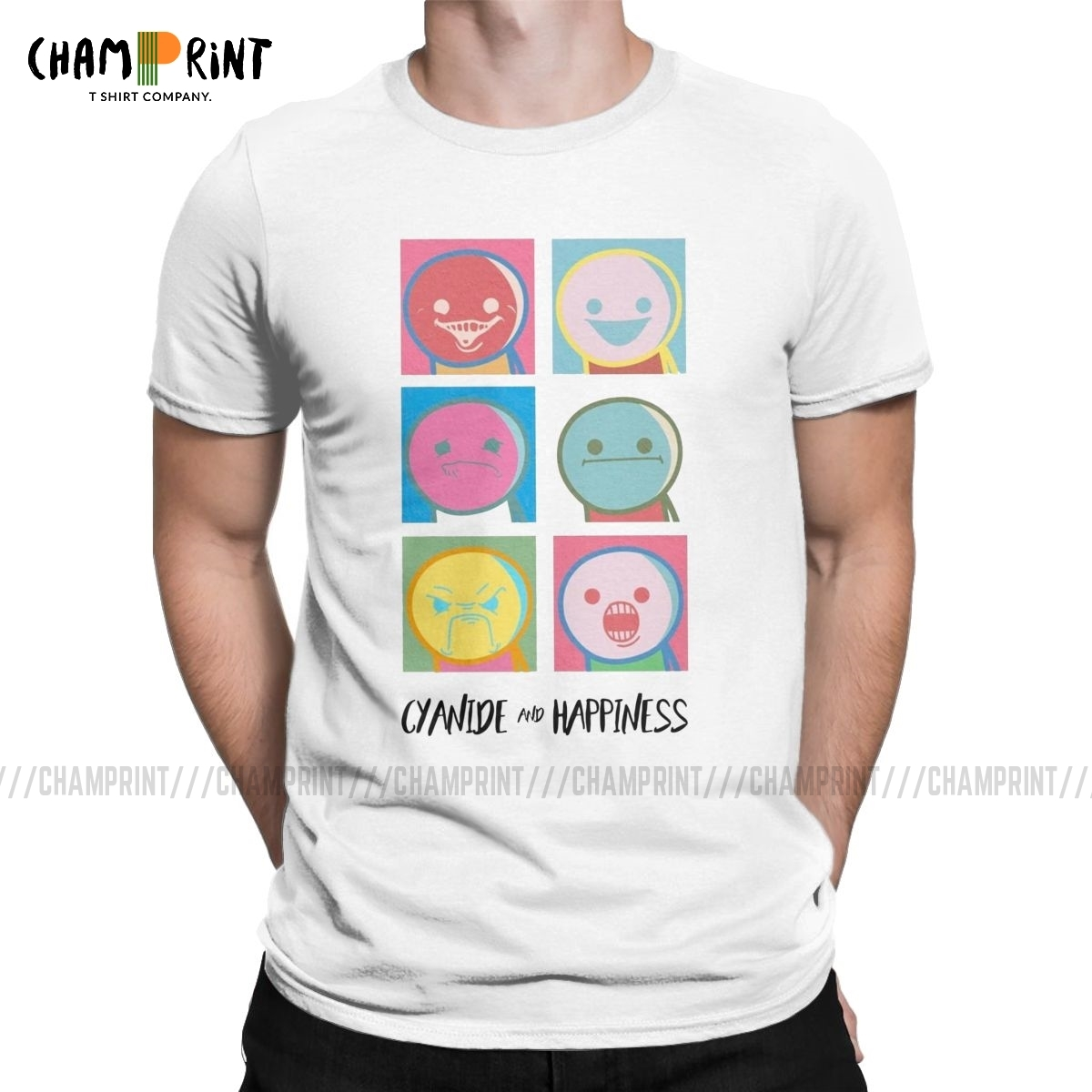 Men's The Cyanide & Happiness Show T Shirts 100% Cotton Tops Hipster Short Sleeve Crew Neck Tee Shirt Graphic T-Shirts image