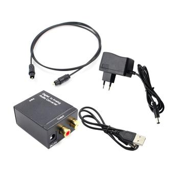 Audio Converter Adapter Optical Toslink & Coaxial R/L Digital Optical Coax to Analog RCA Audio Converter with Fiber Cable